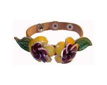 Leather Bracelet - Yellow Flowers with Leaves Handmade Leather Bracelet with Snaps Sized for Adults and Kids - #0978
