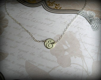 Ampersand necklace, Sterling silver ampersand necklace, And necklace