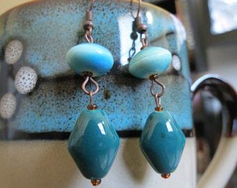 Blue green ceramic earrings