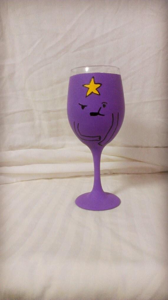 Cartoon Inspired Hand Painted Wine Glass.