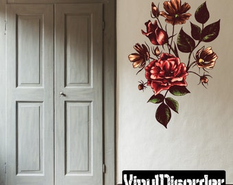 Floral Flower Wall Decal - Wall Fabric - Vinyl Decal - Removable and Reusable - FloralFlowerUScolor084ET