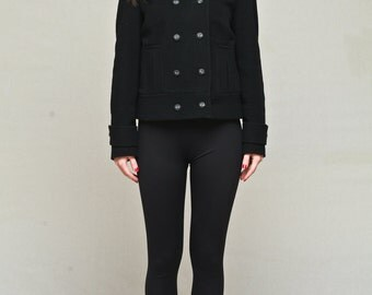 Double breasted coat / short black coat / black wool coat / black cashmere coat / women spring jacket /