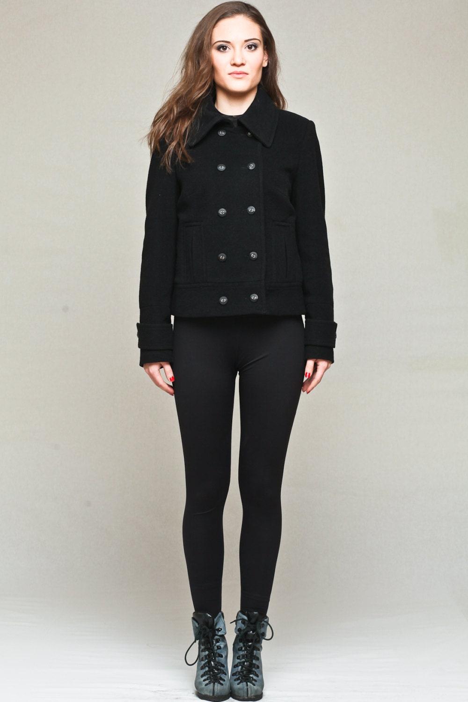 Double breasted coat / short black coat / black wool coat /