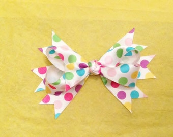 Polka Dot Boutique Stacked Hair Bow - Green Blue Yellow Pink Purple Polka Dot Boutique Stacked Hair Bow - Easter Polka Dot  Stacked Hair Bow
