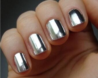 SALE! Metallic Silver Nail Foils / Nail Wraps