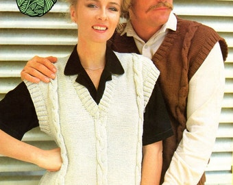 Vintage Knitted Lady/Man Sleeveless Pullover/Vest Cable Pattern