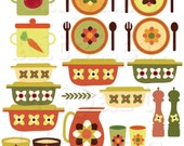 Happy Kitchen Digital Clipart Set - Personal and Commercial Use - Clip Art for Cards, Scrapbooking, Paper Crafts, Invitations, Recipes