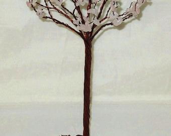 Crystal Tree Rose Quartz Cherry Blossom Gem Tree Sculpture (medium)
