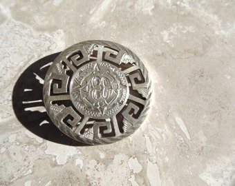 Vintage Sterling Silver Mexico Aztec Deity Pin / Pendent