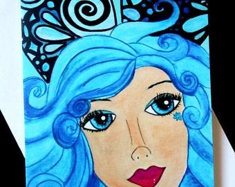 Fairy Cards, Note Cards, Artist cards, handmade item, original art, A7, 5x7 cards, Sapphire