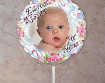 Personalized Spring Photo Balloons/Custom Easter/Spring Flowers/Easter Eggs Photo Balloons/Flower Bouquet Easter Balloon