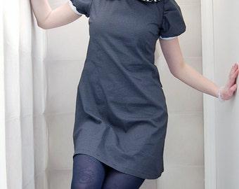 Dress retro style black and white a collar claudine polka dress zawann Creator made in france