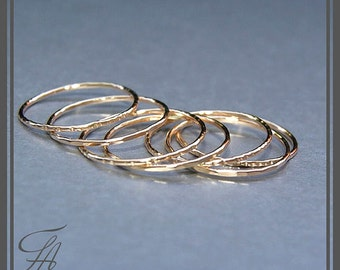 Set of 7 Gold Rings Handmade Rings Stackable Rings Cursive Ring Band Rings Minimalist Jewelry,Gold Jewelry,Gift For Her,