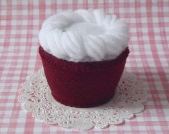 Southern Red Velvet Plush Cupcake - Felt Cupcake - Plush Cupcake Pincushion