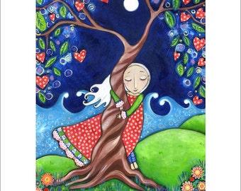 "Tree hugger A3 art print folk art painting womens wall art tree of life nursery decor whimsical kids room picture spiritual art  - ""Kindred"""
