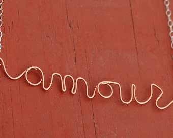 French Amour Love You Copper and Silver Script Necklace