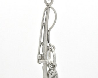 Sterling Silver Fishing Pole and Fish Charm Pendant Customize no. 1834