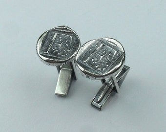 Made to Order Custom Initial Cufflinks - Antique Wax Seal Style- Fine and Sterling Silver