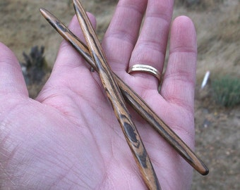 Bocote Oval Shaped Hairsticks or Shawl Sticks