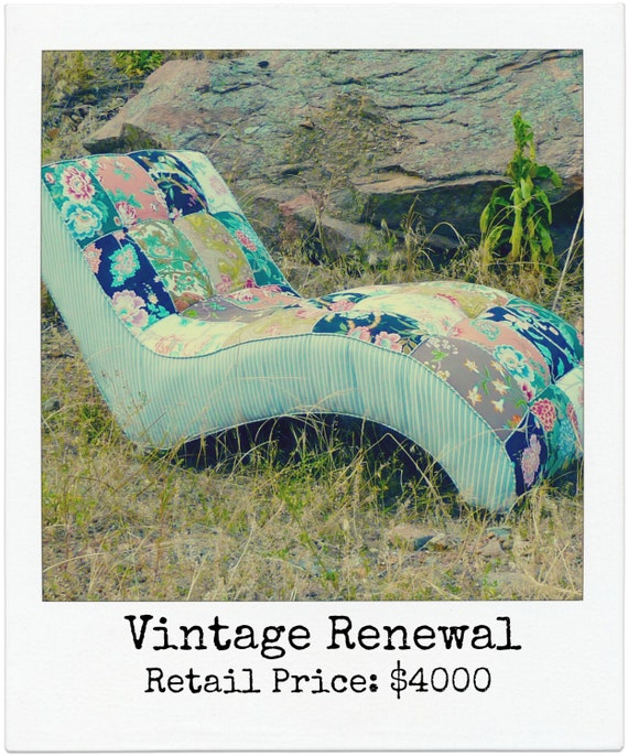 Boho Floral Patchwork Tufted Chaise Lounge by Vintage Renewal ON SALE hold Holly