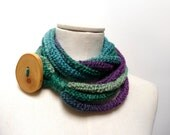 Loop Infinity Scarf Necklace, Knitted Scarflette Neckwarmer - Green, Purple, Teal ombre yarn with giant wood button - Handmade