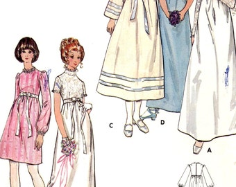 70s Wedding dress and bridesmaid dresses vintage sewing pattern Butterick 6000 size 10