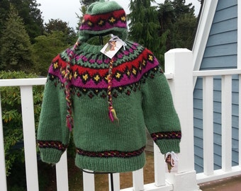 Handknit,  Colorful Swedish Sweater and Hat for Little Girl   Size 6  Matching Hat is Free!