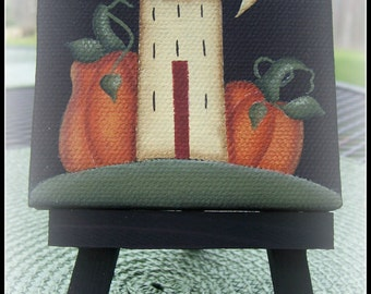 Primitive Fall Saltbox House Pumpkin Mini Canvas Home Decor