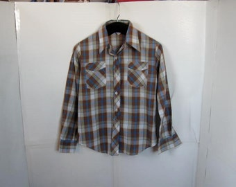 Ladies Plaid Button Down Shirt size Small vintage shirt