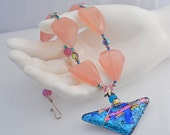 Soft Pink Chalcedony and Bright Blue Bold Necklace - Colorful Statement necklace - CLEARANCE SALE!