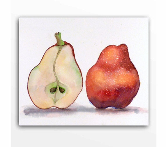Pear Art PRINT / Watercolor painting / Colorful red pears / Red kitchen decor / Red fruit art / Realistic food art nature art / 8 x 10 K