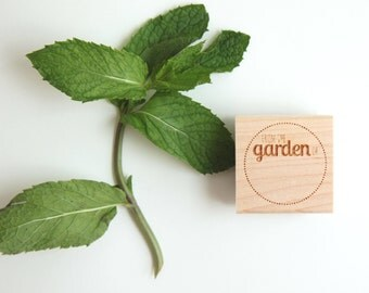 From the Garden of, Round Label Rubber Stamp (Wood Mounted) for Gardeners and Green Thumbs with optional wooden handle (S305)