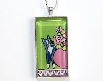 Gray Cat Pendant/ Animal Art Glass Jewelry by Susan Faye