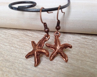 Rustic Copper Earrings Starfish Sea Star Earrings Handmade Jewelry Beach Bohemian Jewelry Copper Jewelry California USA Handcrafted