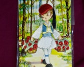 Vintage embroidered postcard greek boy with baskets of flowers FREE SHIPPING by Coff Coll number 20
