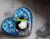 Penguin Winter Jewelry Pin Brooch, Resin Jewellery, Heart Shaped, Sparkly Cool Skating Penguin Novelty Holiday Pin Hand Crafted by isewcute