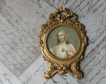 Sacred Heart Of Jesus Christ, Gold Gilt Frame, Ormolu Metal Shrine Portable Devotional Picture, Ribbons & Flowers, Made In France
