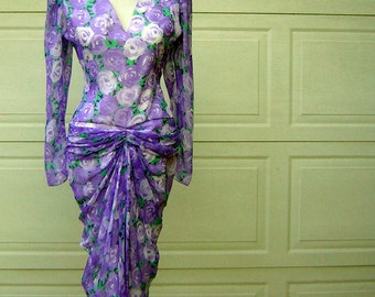 Vintage 80s Ruched Wiggle Party Dress Lavender Sheer Chiffon - Iconic Sexy Hourglass Silhouette