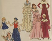 Vintage Halloween 70's Pilgrim, Gypsy, Colonial, Dutch Girl Sewing Pattern Girls Costumes Butterick 4206 Trick or Treat Girls Size 10