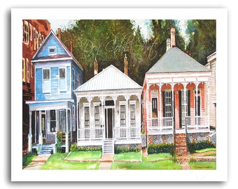 New Orleans 13x19 Art Garden District House Signed