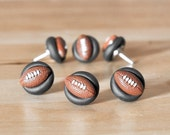 Football Fan Push Pins Home Office/ Man Cave Organization in Black Clay. Custom College, NFL Team Colors Available. Unisex/Men Gift Set of 6