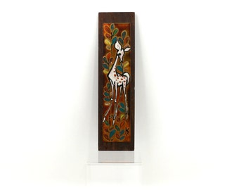 1960s Deer Modernist Enamel Art Signed by Artist, Wall Hanging