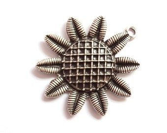 1pc- Matte Silver Plated  Sun Flower Pendant- 50x44mm (412-012SP)