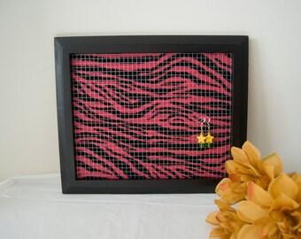 Black Hot Pink Zebra Earring Holder Frame