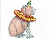 Capybara Clown- Original Ink and Watercolor Illustration
