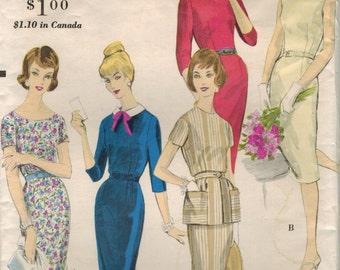 1960s Vogue 9988 Vintage Sewing Pattern Misses Sheath, Detachable Peplum Size 12 Bust 32