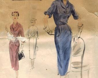1950s Vogue 620 Couturier Design Vintage Sewing Pattern Misses Slim Dress, Sheath Size 16 Bust 34