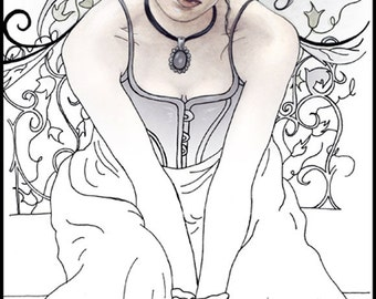 coloring page printable fairy gothic victorian - Gothic Coloring Pages
