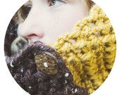 CROCHET COWL FASHION, Patchwork Forest Green, Dark Brown & Mustard Yellow Woodland Handmade Cowl for Women and Teenager Accessories - bellesandghosts
