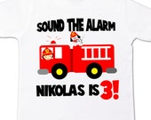 birthday boy firetruck shirt for first, second, third, fourth or any birthday age